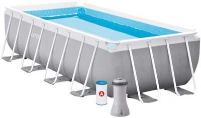 Migliori piscine fuori terra - Intex 26788 Piscina Rettangolare, Grigio, 6.836 litri, 400x200x100 cm