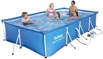 Migliori piscine fuori terra - Bestway 56424 | Steel Pro - Piscina Fuori Terra Rettangolare, 400X211X81 cm, Pompa di Filtraggio Inclusa