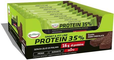 Migliori Barrette Proteiche - Equilibra Protein 35% Dark Chocolate, 24 Barrette da 45 g