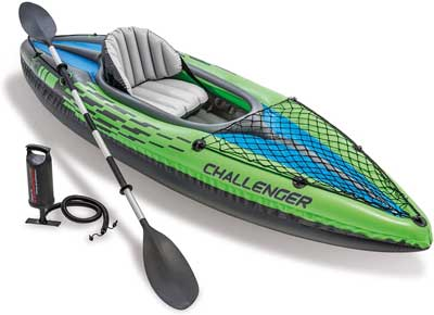 Migliore canoa gonfiabile - Intex 68305, Canotto Challenger K1, Verde:Nero:Blu, 274 x 76 x 33 cm